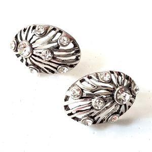 Vintage Oval Dome Rhinestone Silver Tone Earrings